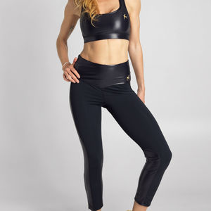 Gloss Zipped Panel Leggings - women's fashion
