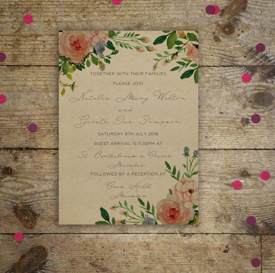 how to address couples on wedding invitations%0A Vintage Garden Wedding Invitations