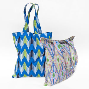 Patterned Cotton Tote Bag - accessories sale