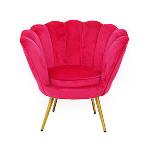 Hot Pink Velvet And Gold Scalloped Chair - furniture