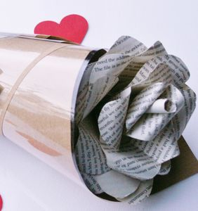 Book Page Wrapped Paper Rose - valentine's cards