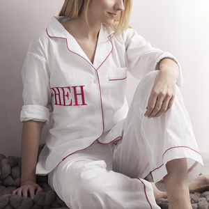 Personalised Women's White And Pink Cotton Pyjama's - shop by recipient