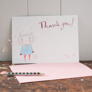 Six Christmas Thank You Postcard For Girls - thank you cards