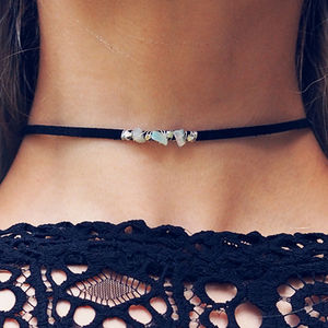 Ava Opal Black Suede Choker Necklace - necklaces & pendants