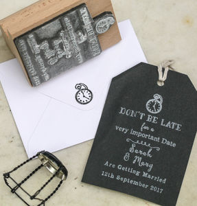 Don't Be Late Save The Date Stamp - wedding favours