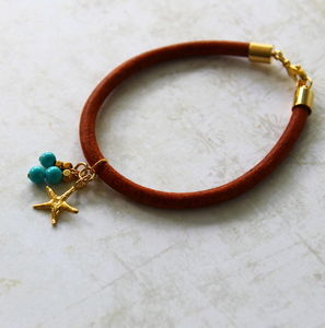 Children's Leather Bracelet With A Starfish Charm