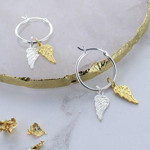 Angel Wing Gold And Silver Hoop Earrings