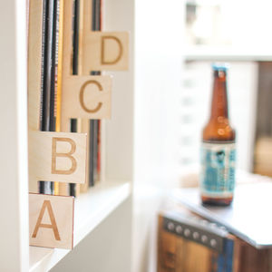Personalised Vinyl Record Organisers A To Z, Wood - music lover