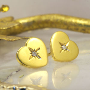 Heart Gold Stud Earrings