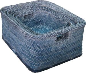 Bamboo Blue/White High Storage Baskets Set Of Six Bwa9 - baskets