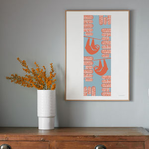 Summer Sloths Seasonal Screen Printed Wall Art - posters & prints