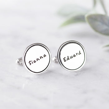 Personalised Silver Identity Name Cufflinks