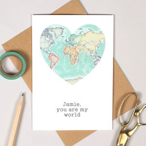 You Are My World Map Heart Valentine's Card - cards & wrap