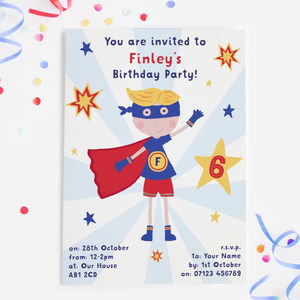 Superhero Boys Party Invitations