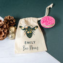 Personalised 'Bee Merry' Bath Bomb Christmas Ornament