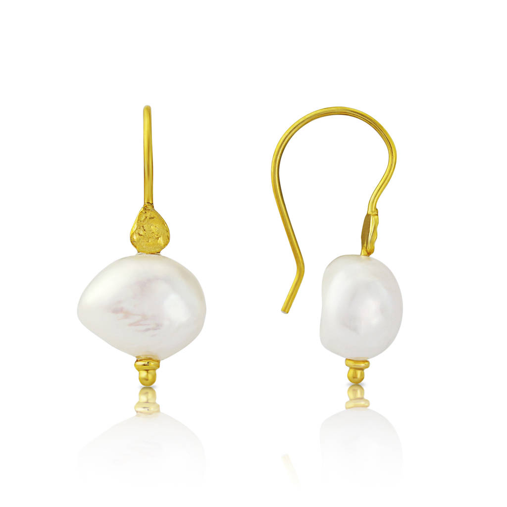 Samos Gold Vermeil Disc Earrings With Baroque Pearl