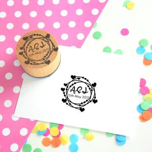Loopy Hearts Monogram Couple Stamp