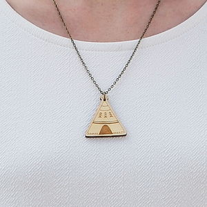 Wooden Teepee Necklace - necklaces & pendants
