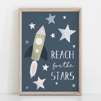 Reach For The Stars Children's Nursery Print
