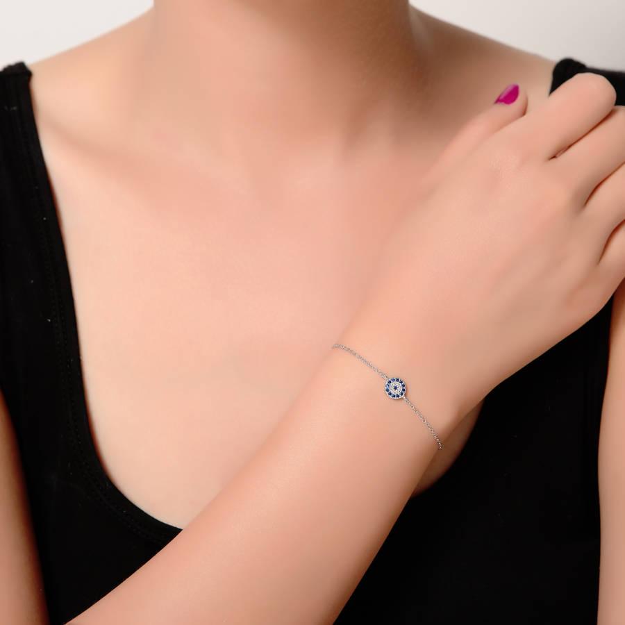 Round Lucky Evil Eye Bracelet Cz Silver Rose Gold