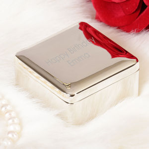 Silver Plated Personalised Square Trinket Box - bedroom