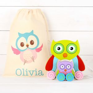 Owl Mum And Baby Pull Along Toy And Personalised Bag