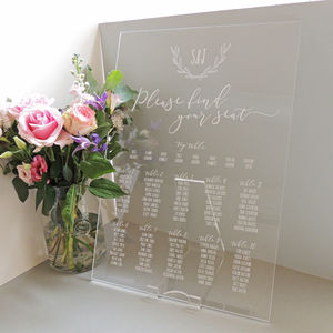 Laurel Monogram Perspex Table Plan - what's new