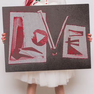 Love Collage Knitted Sign