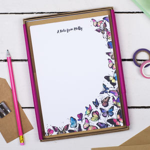 Personalised Butterflies Writing Set - stationery & books