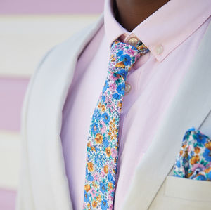Blue Summer Floral Slim Tie - new in fashion