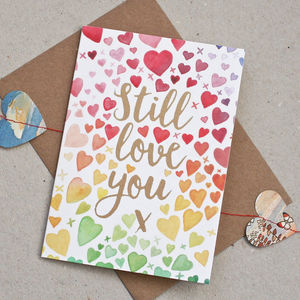 Watercolour Hearts Anniversary Card - love & romance cards