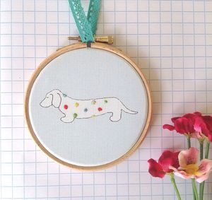 Dachshund Dog Handmade Wall Hoop - tree decorations