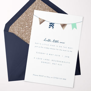 Hello Little One Green Baby Shower Invitations
