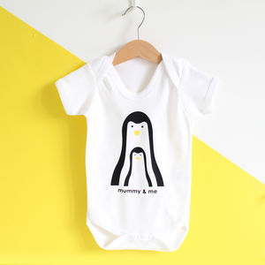 Mummy And Me, Personalised Penguin Baby Grow - gifts for mums-to-be