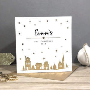 Personalised First Christmas Foiled Card Town