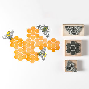 Honey Bee, Bumble Bee And Honeycomb Rubber Stamps