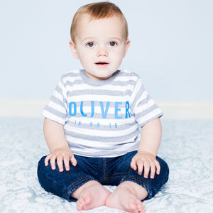 Personalised Baby Stripe T Shirt - clothing