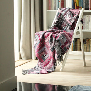 Purple Merino Wool Thow Marta - throws, blankets & fabric
