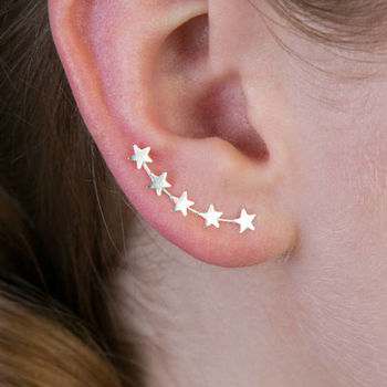 Mini Star Silver Crawler Earrings
