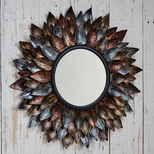 Neha Iron Leaf Mirror - home accessories