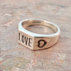 Personalised Word Silver Signet Ring