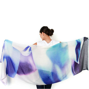 Womens Printed Cashmere Silk Scarf, Agave - gifts for her