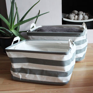 Set Of Stripey Storage Baskets