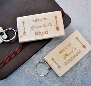 Personalised Wooden Shed Keyring
