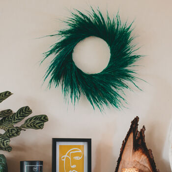 Emerald Dried Flower Pampas Grass Wreath