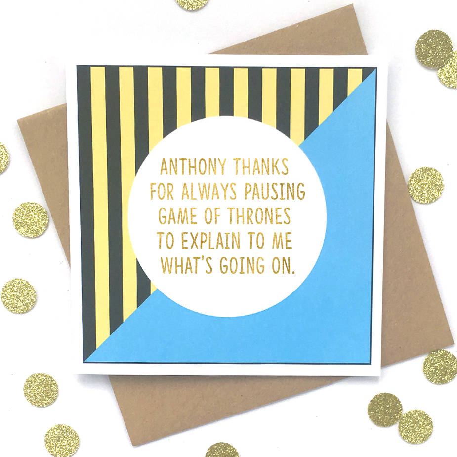 Personalised Husband Birthday Card Game Of Thrones By Bettie Confetti