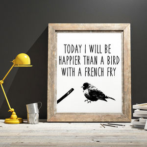 'Happy' Bird Typographic Print - posters & prints