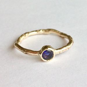 Water Ring Solid 9ct Yellow Recycled Gold With Gemstone