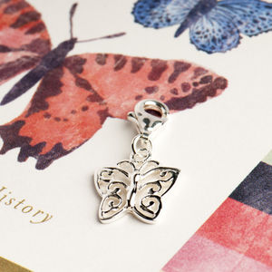 Filigree Butterfly Charm In Sterling Silver