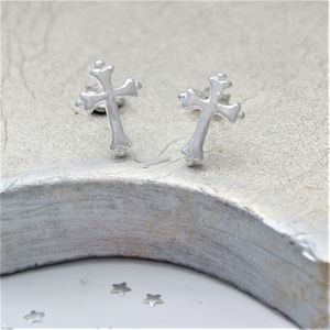 Sterling Silver Cross Earrings